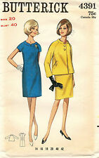1960's VTG Butterick Misses' Dress and Jacket Pattern 4391 Size 20 UNCUT