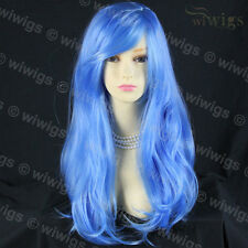 Wiwigs Animation Long Blue Wavy Layered Cosplay Skin Top Ladies Wig