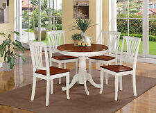 5-PC DINETTE KITCHEN TABLE WITH 4 AVON WOOD SEAT CHAIRS IN BUTTERMILK & CHERRY