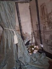"NEW! Sublime Huge Classic French Damask Duck Egg 115""D52""W Interlined Curtains"