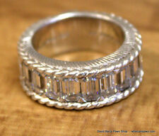 Judith Ripka Sterling Diamonique Baguette Band Ring
