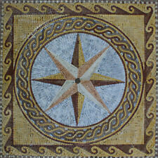 Gorgeous Compass Art Tile Stone Floral House Decor Marble Mosaic GEO1994