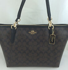 New Authentic COACH F55064 AVA Signature Tote Handbag Purse Shoulder Bag Brown