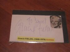 Gracie Fields Autographed 3x5 Index Card with Photo JSA Auc Certified