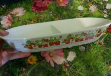 """VTG ACTION OVEN TO TABLE DOUBLE DEVIDED BAKING DISH STRAWBERIES 13"""" JAPAN md"""