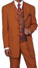 New Mens' 4 Button Fashion Suit+pant+ vest+Tie+Hank Black/Red, Black/Gray #6903V