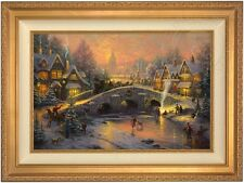 "Thomas Kinkade Spirit of Christmas 18"" x 27"" LE S/N Canvas (Gold Frame)"