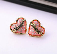 Gold Plated red heart love sweet diamant Stud Earrings EH0503
