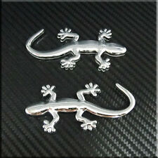 Car Motorcycle Gecko Gecco Side Chrome Emblem Badge Sticker 2pcs set
