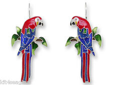 Zarah Zarlite Greenwing Macaw Parrot EARRINGS Enamel Silver Plated - Gift Boxed