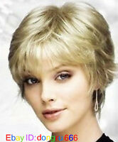New Fashion short Platinum-Blonde Wig With Free wig cap  A46
