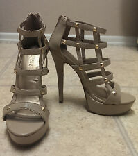 Forever 21 F21 Tan Nude Cage Stud Open-Toe Platform Shoes Size 6 36