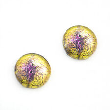 16mm Yellow and Purple Snake or Lizard Glass Eye Cabochons for Jewelry Making