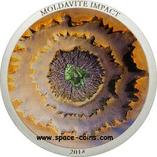 2014 Cook Islands, MOLDAVITE IMPACT meteorite coin! CONCAVE $5 silver proof+ box