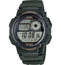 Casio AE1000W-3A Men's Green Resin Band 5 Alarms Chronograph World Time Watch