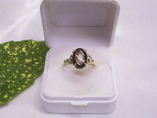 GIALLO-ring: 585er GOLD & diopside: lavoro a mano: firma: VN: TG: 57/18,1