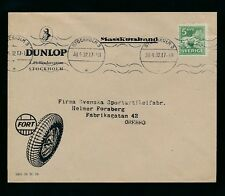 SWEDEN 1932 ADVERTISING ENVELOPE DUNLOP TYRES TIRES...MACHINE CANCEL