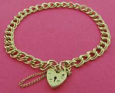 9CT SOLID YELLOW GOLD FLAT D/C CURB LINK CHARM BRACELET HEART PADLOCK GIFT BOX