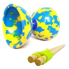 Blue & Yellow Jester Diabolo & Wooden Sticks - Medium Rubber Diablo with Sticks