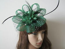 Charming GREEN Wedding Feather Net Flower Hair Headpieces Clip Women Fascinators