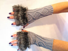 Extra Long Knitted Fingerless Wrist Hand Warmer Faux  Fur Warm Gloves Mittens