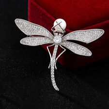 Exquisite White Pearl Micro Pave CZ Dragonfly Brooch Pin Party Bridal Jewlery