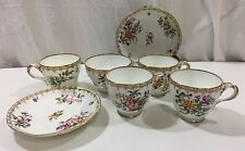 English Minton Fine Bone China ~ floral pattern tea cup + saucer set Lot Of 7