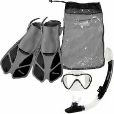 Seavenger Diving Set (Gray/Black )S/M Adult Size Trek Fin Single Lens Mask Bag