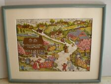 Vintage Handmade Crewel Embroidered Farm Quilts Country Side Framed Picture