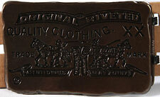 "LEVI'S Two Horse Brand aged Brass Belt Buckle-NEW-1.5""-brown metal-levis classic"