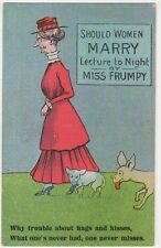 Should Women Marry, Lecture by Miss Frumpy Comic Postcard B627