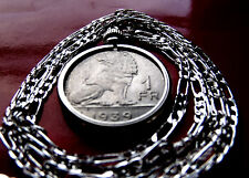 "BELGIUM 1939 CLASSIC ROYAL LION COIN Pendant on a 30"" 925 Sterling Silver Chain."
