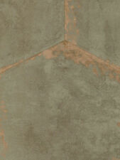 Wallpaper Designer Large Hexagon Faux Sage Tiles With Copper Metallic Accents