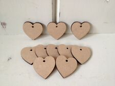 10 x HEARTS 4cms - MDF Blank Plaques - crafts, decopage, painting, WITH  HOLES