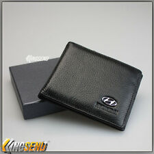 deluxe HYUNDAI Genuine 100% Cow Leather Bifold Wallet Men Slim Purse Car Pouch
