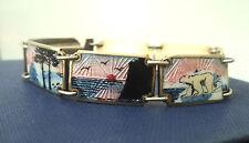 Fabulous Vintage Norwegian Silver Scenic Enamel Bracelet -  Norway