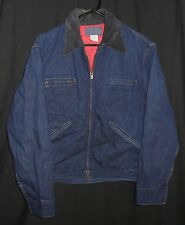 Vtg Indigo Denim Work Jacket OshKosh Barn Chore Railroad Trucker Short Zip 42