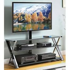 "Whalen 3-In-1 Black TV Console for TVs up to 70"" Stand Entertainment Media Glass"