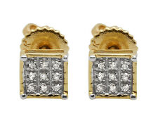 10K Yellow Gold Square Genuine Round Diamond Ladies Men's Stud Earring .08ct 5MM