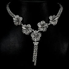 Sterling Silver 925 Genuine Swiss Marcasite Flower Design Necklace 20.5 Inch