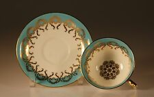 Aynsley Turquoise and Gold Tea Cup and Saucer, Made In England c. 1950