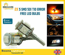 2x 5 SMD LED 501 W5W Canbus NO ERROR Amber Wedge Bulbs SEAT IBIZA LEON CUPRA R