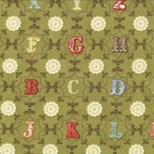 Cosmo Cricket Odds and Ends Alphabet From A to Z Fabric in Leaf 37045-15