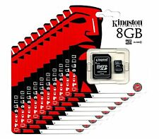 KINGSTON 8GB MICRO SD SDHC TF FLASH MEMORY CARD ADAPTER WHOLESALE  LOT OF 10