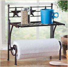 Western Star Metal Paper Towel Holder Rack in Rustic Brown - Country Kitchen NEW