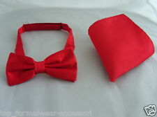 Deal   Shiny Polyester RED Mens Pre-tied Bow tie and Hankie Set P&P  1st Class