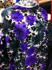 Top Quality stretchy Burnout in Velvet perple/grey  Floral design Dress fabric