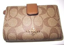 Coach Medium Corner Zip Signature PVC Khaki & Saddle Wallet F54023 NWT $165