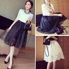 2015 Fashion Retro Women Skirt Midi Skirt Elastic Waist Skirt Solid Black White