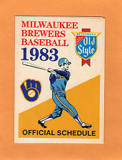 1983 MLB BASEBALL MILWAUKEE BREWERS GAME POCKET SCHEDULE